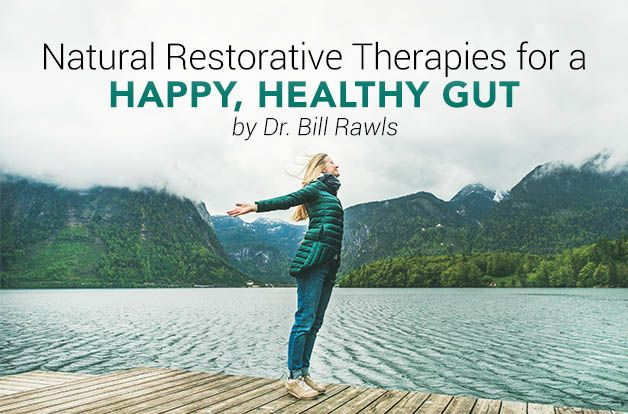 Dr. Bill Rawls' Restorative Therapies for a Happy, Healthy Gut, woman with arms open in freedom in front of a lake