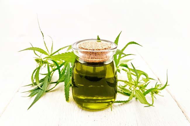 Jar of hemp oil with CBD.