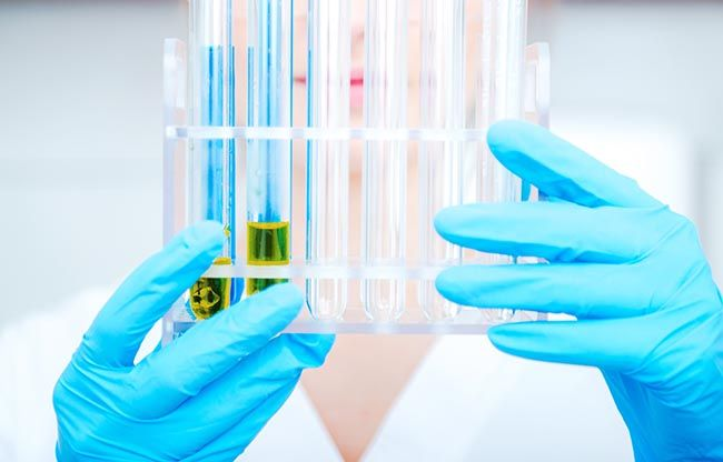 CBD oil extract being tested in a lab