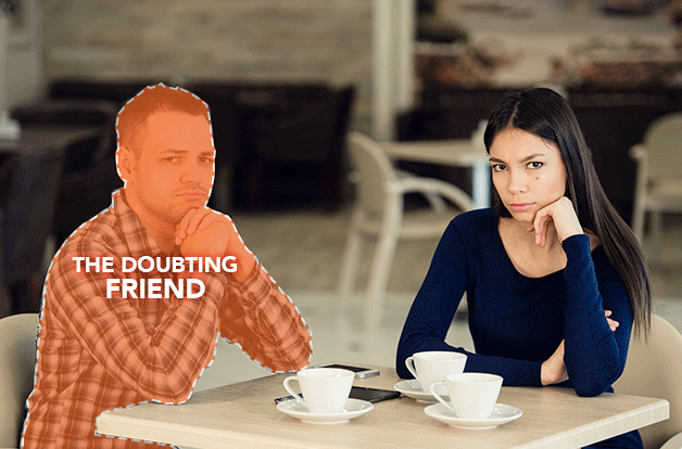 man and woman sitting upset at table, man outlines as doubting friend