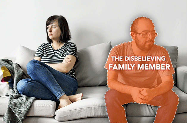 man and woman sitting away from each other on couch, upset. man outlined as the disbelieving family member