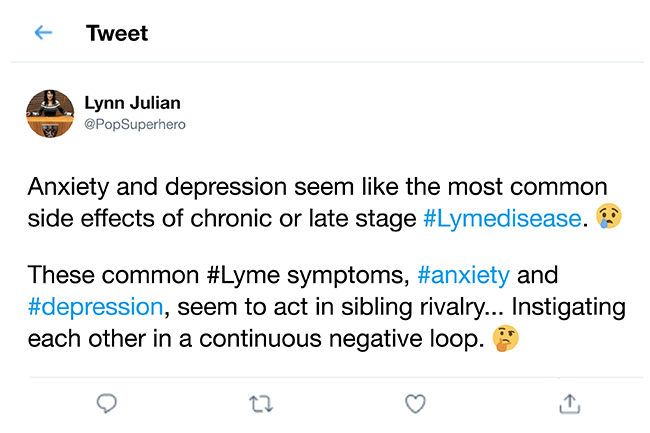 Twitter post stating anxiety and depression are very common with Lyme