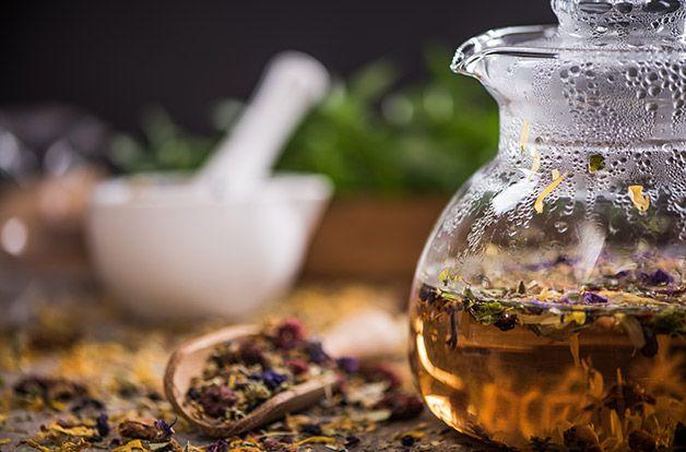 detox herbal tea in glass kettle