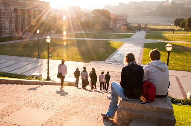 group of students walking down college campus steps, sun shining over buildings
