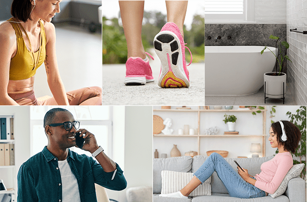 photo collage of five pictures: woman meditating with music, walking, bathtub, man on phone, woman chilling with tablet