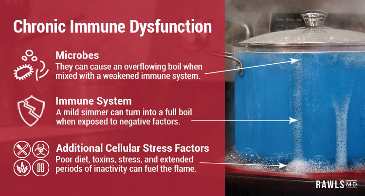 text overlay of boiling pot, listing the causes of chronic immune dysfunction: microbes, weak immune system, poor diet, toxins, stress, and sedentary life